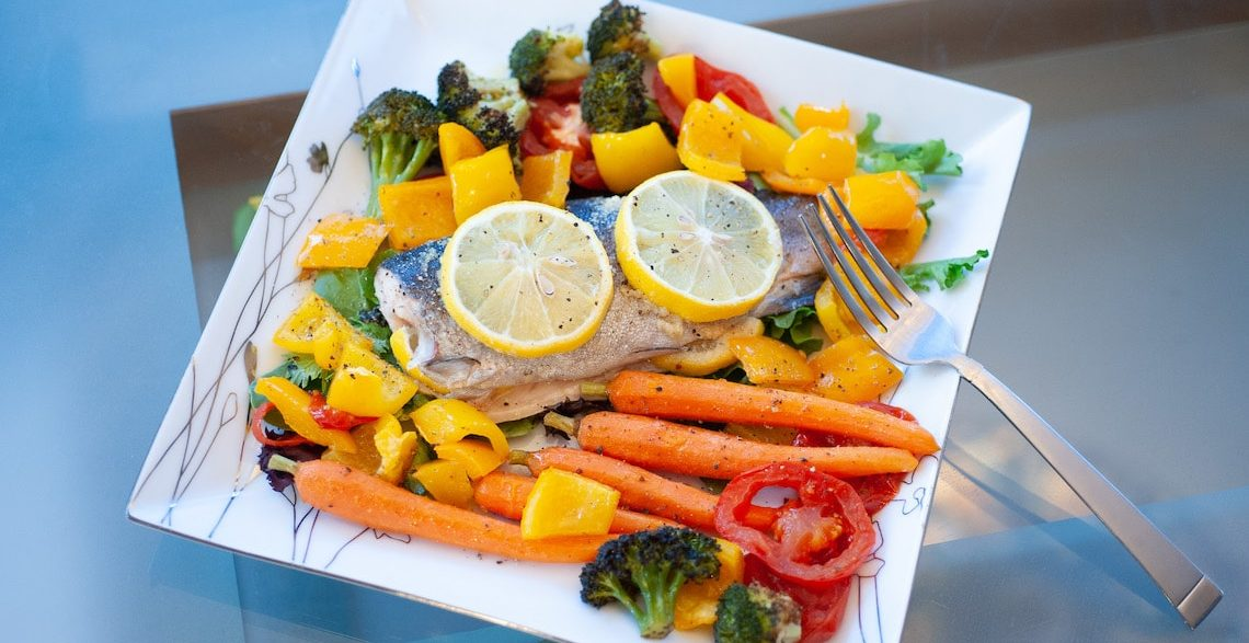 Baked Rainbow Trout Fillets with Roasted Vegetables